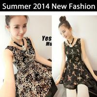 New 2014 Fashion Summer Women Dresss Leopard printed bandage vintage plus size women clothing party dresses sleeveless vestidos