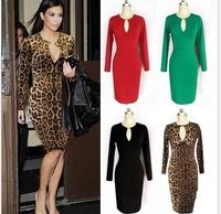 New 2014 spring winter women dress leopard print sexy deep v-neck party club long sleeve plus size women clothing dress vestidos