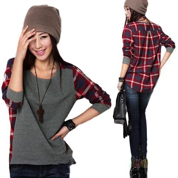 S-XXL Hot Sale New 2014 fashion Long Sleeve plaid Bottoming Shirt women Female sweater hoodie size Loose blouse DF-010