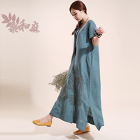 [ LYNETTE'S CHINOISERIE - Sang ] National 2014 trend women's linen embroidery short-sleeve loose one-piece dress