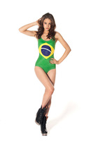 Brazil Flag Print Women Sexy One piece swimwears Green Brand Fashion Ladies High Waisted  swimsuit  Bathing Suit Female 2014 New