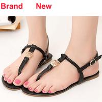 Brand Designer Famous 2014 New Hot Sale Size 5 6 Black Silver Blue Sandals Women Cute Flat Flip Flops Soft Leather Summer Shoes
