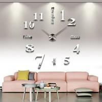 2014 New Big Digital 3D DIY Mirror Wall Clock Sticker Modern Design Metal EVA  Creative Gift Luxury Home Decoration Freeshipping