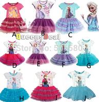 5pcs/lot New Princess Dress Frozen Queen Princess Elsa Anna Dressing TUTU Dress For 1-5 Year Children Kid Girl