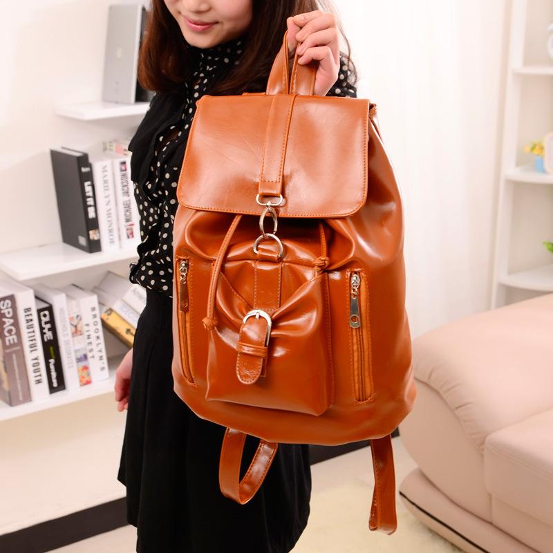 2014 Backpacks High Quality Pu Leather Women Backpack Girl School Bag Fashion Korean Stylish 4 colors travel daily bags BP044(China (Mainland))