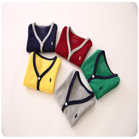 New 2014 Autumn  baby &kids clothing  foreign trade boys and girls candy color  Knit Cardigan 5pcs/lot