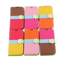 3D Diamonds Camellia Multicolor Case PU Leather Wallet Slot Cover Flip Skin for For Samsung  I9500 S4 S IV