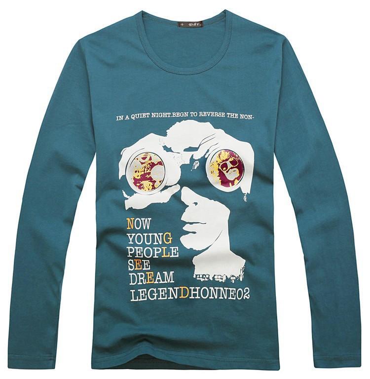 Freeshipping Man's Top Fasion slim Cotton Spring 2014 Hot Sale long sleeve men t-shirt print people solid Designer Tops(China (Mainland))