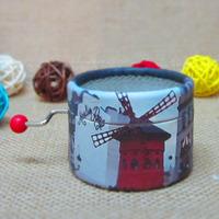 Paris windmill Paper round hand crank music box standard 18 Notes music box movement romantic DIY Angela's gifts-free shipping