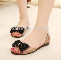 summer  new  women  sandals Color diamond rain boots Transparent crystal jelly shoes beach Flat sandals