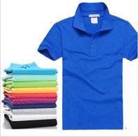 Wholesale Men's POLO shirt short-sleeved cotton Tee shirts 160 g lapel nightwear free shipping L-3XL