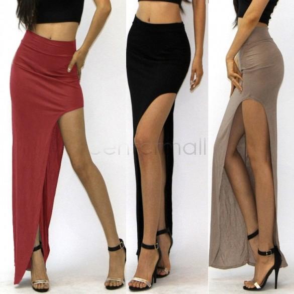 Skirt Summer Solid Color Long Maxi Skirt Women's High Waisted Skirt ...