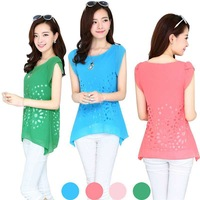 2014 New Fashion Summer Women Flower Hollow Out Chiffon Shirt, Candy Color Short Sleeve Round Neck Blouse Tops Tees Y50*E3036#S7