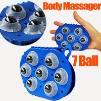 Free Shipping 2014 New Body Massager Body Face Neck Leg Handheld Massager 360 Degree Spin 7 Piece Steel Ball Roller Massager