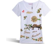 New Women Summer Short Sleeve T-shirt Leopard Rhinestone Decoration Fashion European Style Brand T shirts