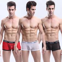 New 2014 Gay Underwear Free Shipping Men Underwear transparent Boxers Sexy Lace Panties Men Boxers Modal Shorts MU1000A