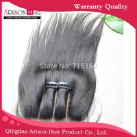 three/3 part silk straight base lace closure 4x4 bleached knots virgin hair brazilian straight
