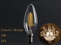 LED filament candle Vintage halogen Design Surper Bright 2w candle bulb E14 Sharp Glass Free shipping 110v/220v