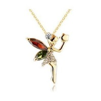 Austrian Crystal Necklaces Pendants for Women Long Gold Necklace Angel Necklace Crystal Jewelry Silver Necklaces ML-559-1