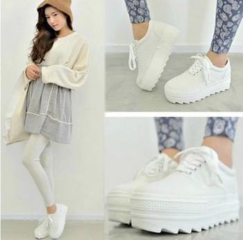 Весна и осень женщины платформа холст кроссовки высота увеличение женщин тапки туфли ...