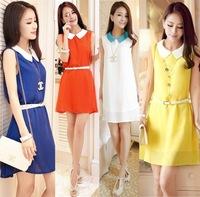 Korean Fashion Elegant Dress New 2014 Summer Spring Chiffon Sleeveless Plus Size Women's Casual Sexy Dress Girl Tops Vestidos