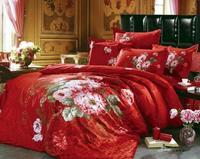 Luxury Wedding bedding sets queen king size 4pcs Oil Painting flowers quilt/duvet cover bed sheet bedclothes cotton home textile
