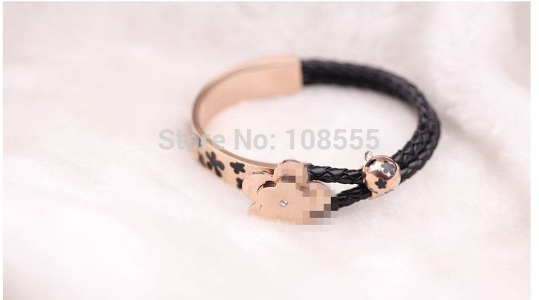 1PCS Fashion weaving hide rope bend leaves Rose Gold Titanium steel Bracelets #0525-Black(China (Mainland))