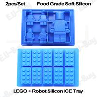 2pcs/lot Soft Silicone Lego Shape Ice Cube Tray Mold Maker (LGRBICETRAY-2)