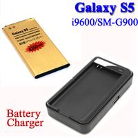 USB Wall charger +4350mah Gold battery For Samsung Galaxy S5 SV i9600 SM-G900 SM G900F G900H G900PVBateria Batterij cargador
