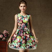 Spring Summer Royal New Fashion Princess Office Women's Dress Temperament Slim Waist Digtial Flowers Print  With Belt 58005#