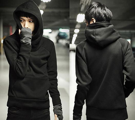 FREE SHIPPING Fashion Black Slim Fit Hooded Cotton Sweatshirts Plain Long Sleeve Pullover Mens Casual Hoodies 012-140610005}(China (Mainland))