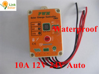 10A 12V 24V Solar lamps controller Waterproof garden lights controller, 10amps lithium LiFePO4 batteries Solar charge regulators
