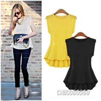 2014 Vogue Fashion Summer Women Blusas Sleeveless Peplum Slim Fit Women Blouse Tank Top Shirt Vest Size S M L Free Shipping 1464