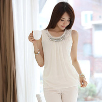 2014 New Summer Women Casual Lady Sleeveless Tank Blouses Chiffon Diamonds Shirts, White, 5 Size S-2XL