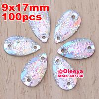 (2 bags 5% off ) 100pcs/Lot, 9x17mm Crystal AB / Clear AB Teardrop Resin Sew on stones flat back resin sew on rhinestones
