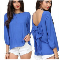 CHEAPEST!!!!2014 European Style Fashion Women 2014 Spring And Summer Chiffon Loose Backless Bow Pattern Blouse