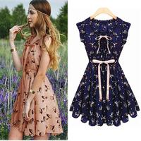 2014 Fashion Women Designer Slim Sleeveless Deer Print Animal Printed Vintage Butterfly Sleeves Chiffon Casual Novelty Dress