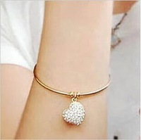 fashion hot sale rhinestone heart pendant brief bangles for women