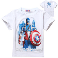 Captain America T shirts for children kids boys t shirt summer 1pcs boys shirts 2-9Y short sleeve boys t shirt Free shipping