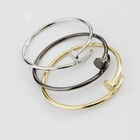 Luxury Brand Punk Gold Plate Jewelry Titanium Stainless Steel Stylish Screws Nail Women Bangle Bracelet Bijoux