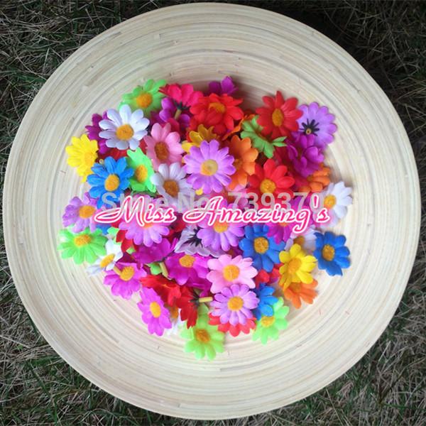 100pcs 4cm 10Colors Artificial Gerbera Daisy Heads Silk Flower Wedding Party Dress Christmas Table Decorations Wholesale Bulk(China (Mainland))
