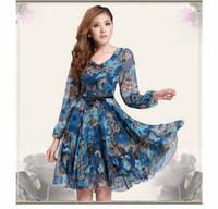 Fashion Women Clothing Cute Dress 2014 Floral Print Slim Waist Chiffon Dress, M, L, XL, XXL, XXXL