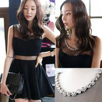 Hot Sales! 2014 Summer Sexy Women Clothing Sheath Dresses Gauze Patchwork Package Hip Dress, Black, S, M, L, XL