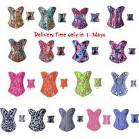 Sexy Women Fashion art pattern Bustier  Boned Corset  corselet 18 Colors +G-string Size S,M,L,XL,2XL Free shipping