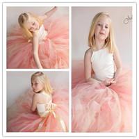 2014 Summer Elegant Ivory Satin Girl Tutu Train Dress Peach and Champagne Flower Girl Dress Vintage Photography/Party/Birthday
