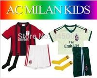 2015 AC milan Home/away Kids youth Full Set (jersey kits + sock) KAKA HONDA , 2015 AC milan youth boys soccer jersey