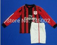 2015 AC milan home long sleeve Kids youth jersey Full Set KAKA HONDA , 2015 AC milan girls boys soccer jersey kits