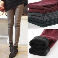 New 2014 Winter Women's Warm Pants Fashion Plaid Print Thicken Warm Trouser Pants Casual Slim Elastic Legging&Trousers KZ060