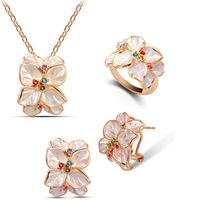 Wedding Jewelry Set 18K Rose Gold Plate Austrian Crystal Enamel Earring/Necklace/Ring Flower Set Choose Size of Ring  ND001