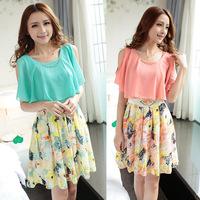 High Quality! 2014 New Women's Summer Dress Charming Crewneck Chiffon Short Sleeve Floral Casual Dress sweet princess dress